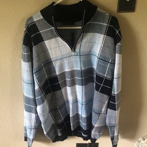 knitted turtleneck checkered sweater